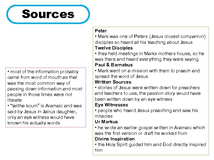 Sources • most of the information probably came from word of mouth as that