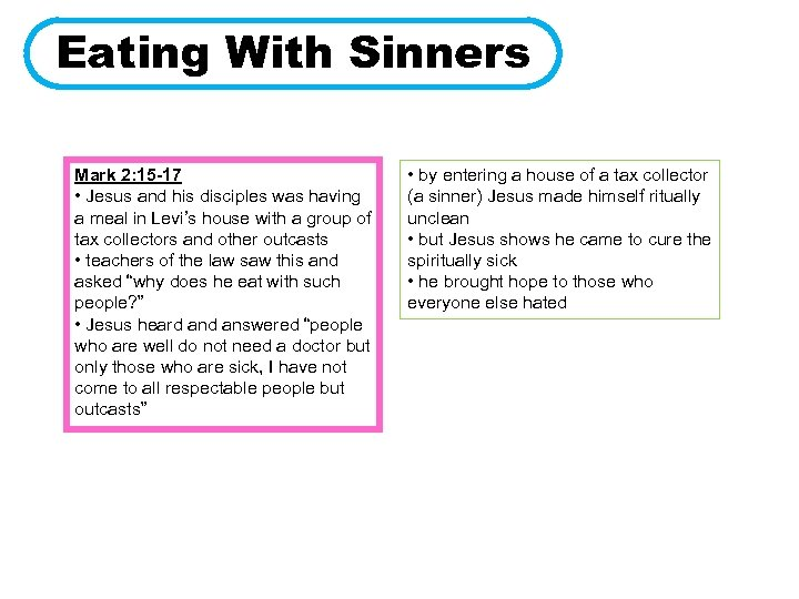 Eating With Sinners Mark 2: 15 -17 • Jesus and his disciples was having