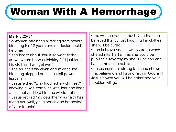 Woman With A Hemorrhage Mark 5: 25 -34 • a woman had been suffering
