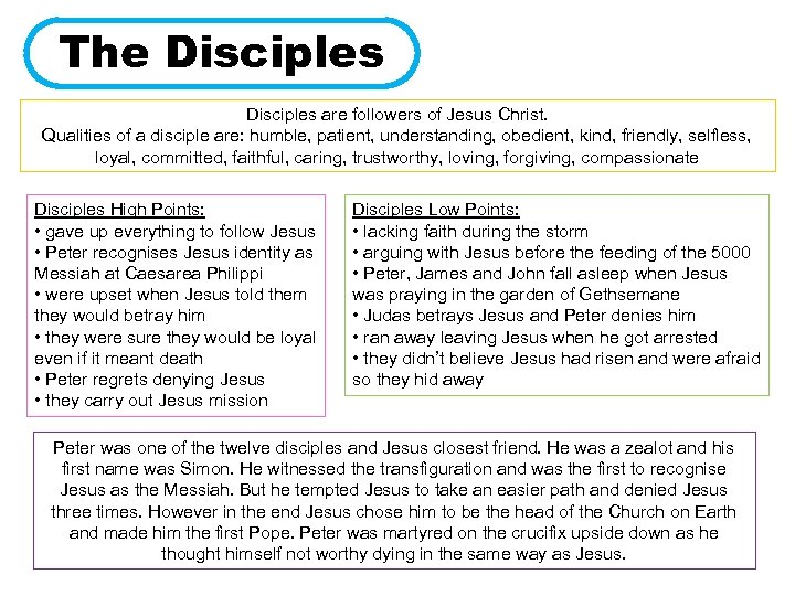 The Disciples are followers of Jesus Christ. Qualities of a disciple are: humble, patient,