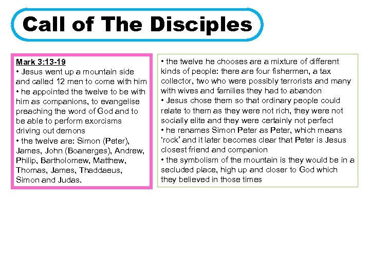 Call of The Disciples Mark 3: 13 -19 • Jesus went up a mountain