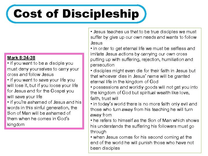 Cost of Discipleship Mark 8: 34 -38 • if you want to be a