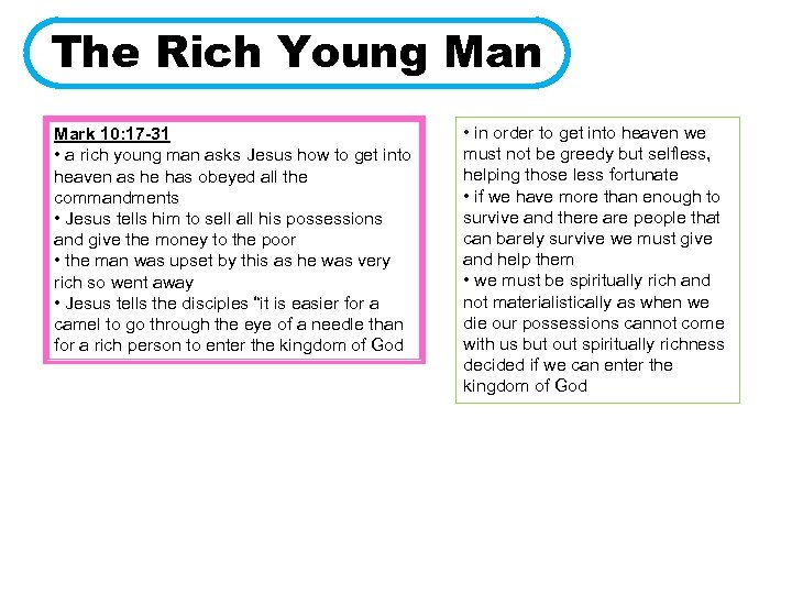 The Rich Young Man Mark 10: 17 -31 • a rich young man asks