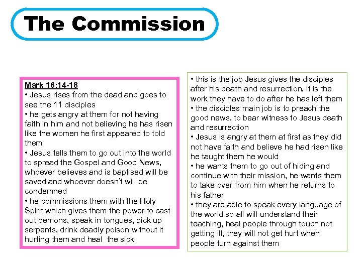 The Commission Mark 16: 14 -18 • Jesus rises from the dead and goes