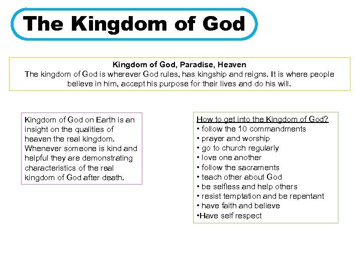 The Kingdom of God, Paradise, Heaven The kingdom of God is wherever God rules,