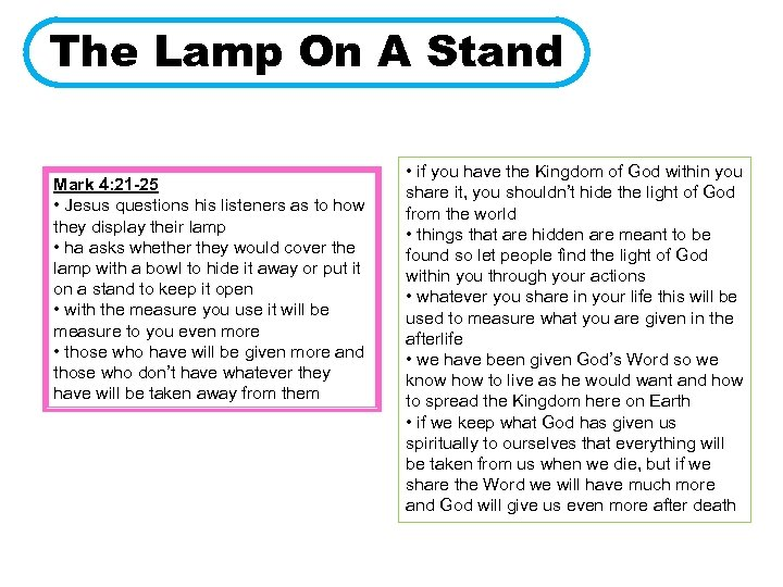 The Lamp On A Stand Mark 4: 21 -25 • Jesus questions his listeners
