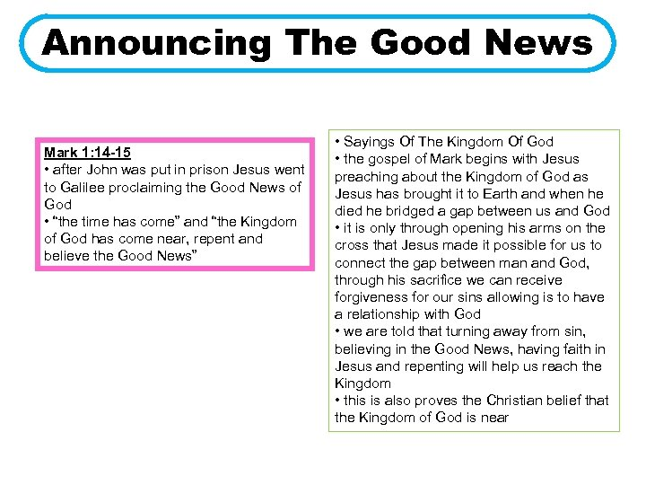 Announcing The Good News Mark 1: 14 -15 • after John was put in