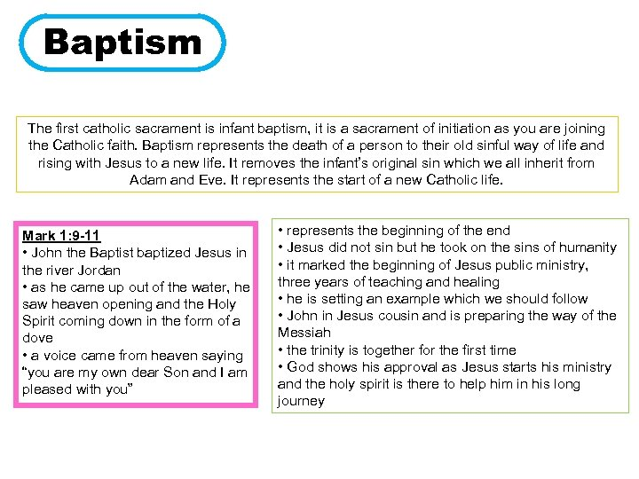 Baptism The first catholic sacrament is infant baptism, it is a sacrament of initiation
