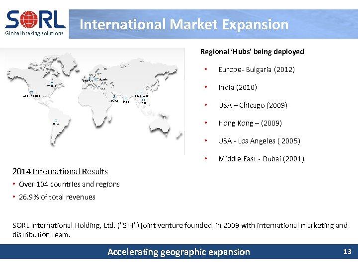 Global braking solutions International Market Expansion Regional 'Hubs' being deployed • Europe- Bulgaria (2012)