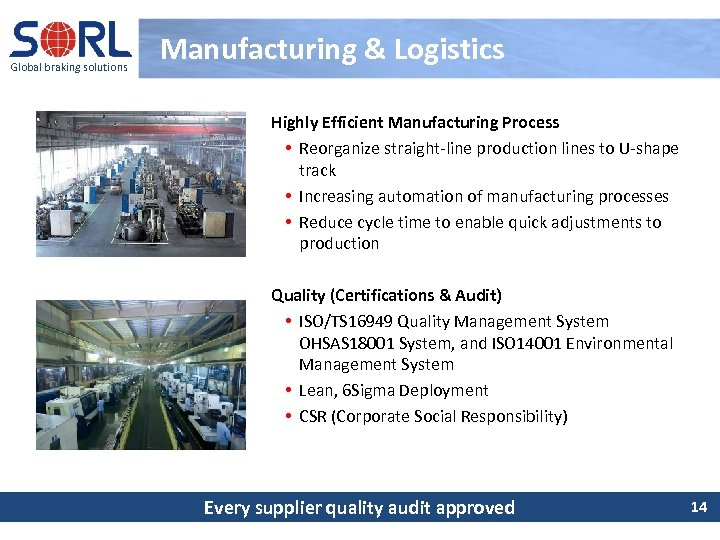 Global braking solutions Manufacturing & Logistics Highly Efficient Manufacturing Process • Reorganize straight-line production