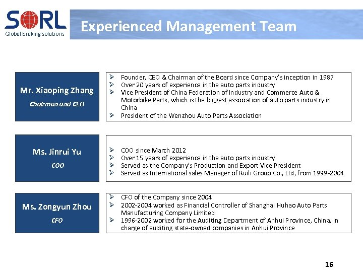 Global braking solutions Experienced Management Team Mr. Xiaoping Zhang Chairman and CEO Ms. Jinrui
