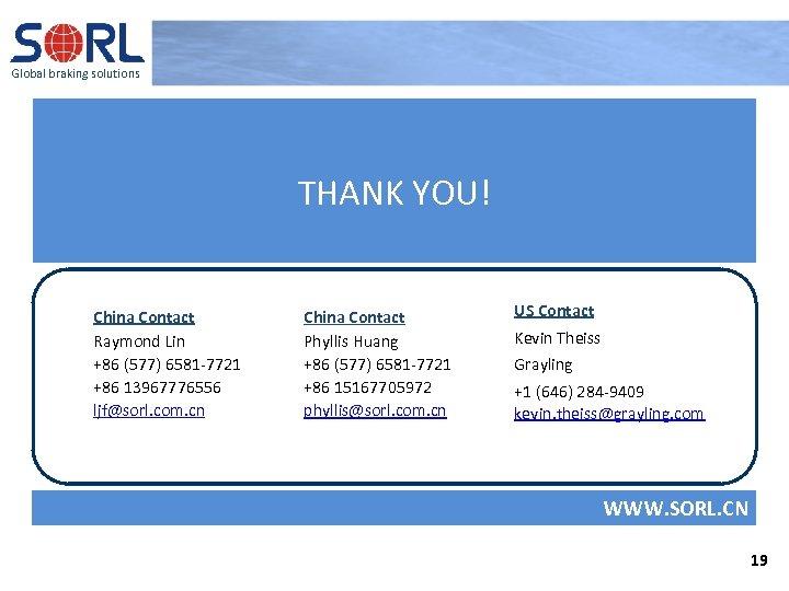 Global braking solutions THANK YOU! China Contact Raymond Lin +86 (577) 6581 -7721 +86