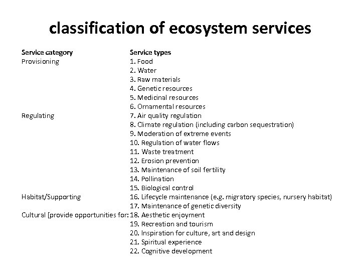 classification of ecosystem services Service category Provisioning Service types 1. Food 2. Water 3.