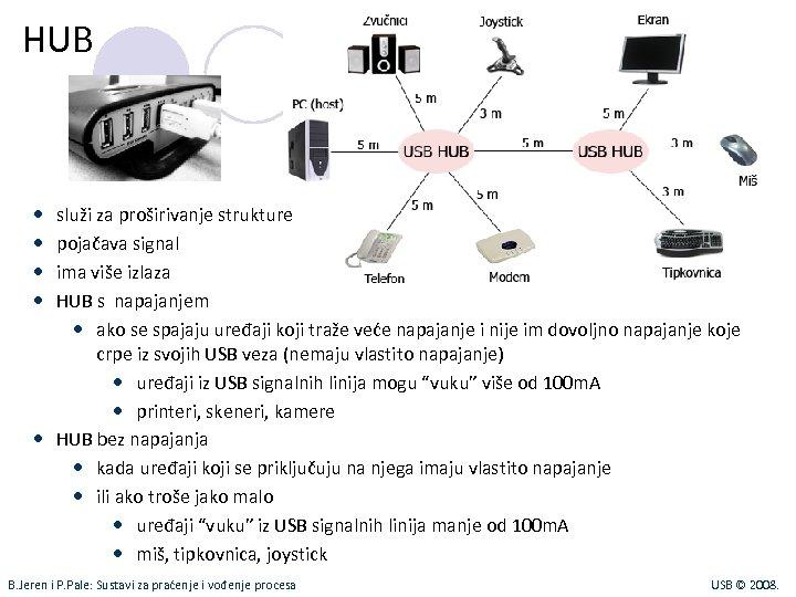 HUB služi za proširivanje strukture pojačava signal ima više izlaza HUB s napajanjem ako