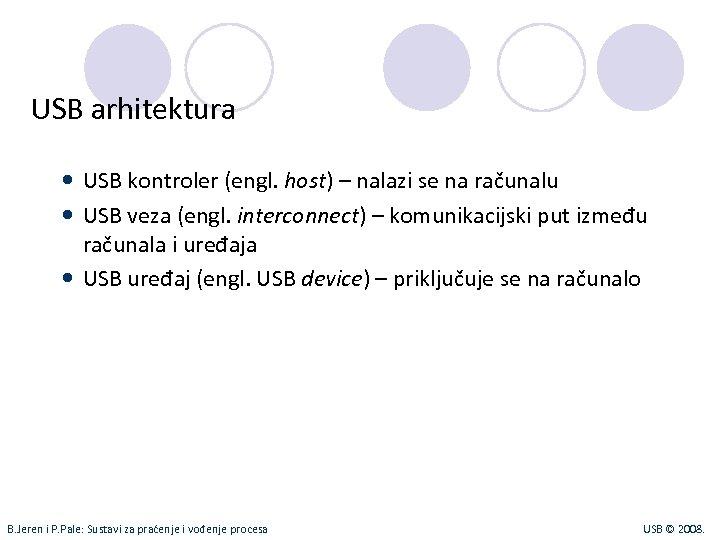 USB arhitektura USB kontroler (engl. host) – nalazi se na računalu USB veza (engl.