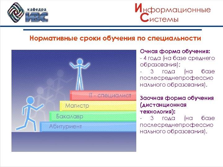 Нормативные сроки обучения по специальности Очная форма обучения: - 4 года (на базе среднего
