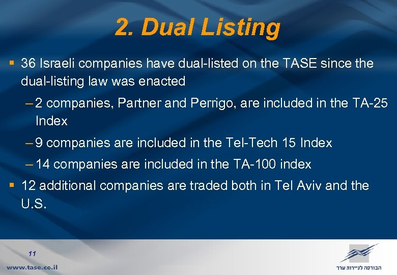 2. Dual Listing § 36 Israeli companies have dual-listed on the TASE since the
