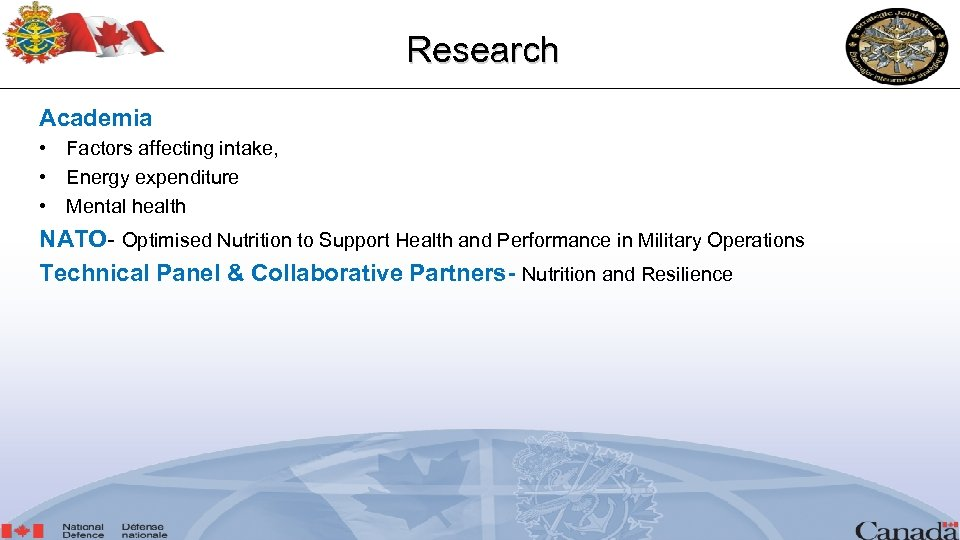 Research Academia • Factors affecting intake, • Energy expenditure • Mental health NATO- Optimised