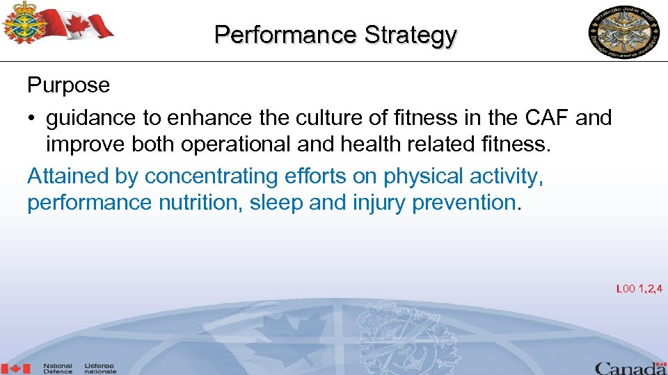 Performance Strategy Purpose • guidance to enhance the culture of fitness in the CAF