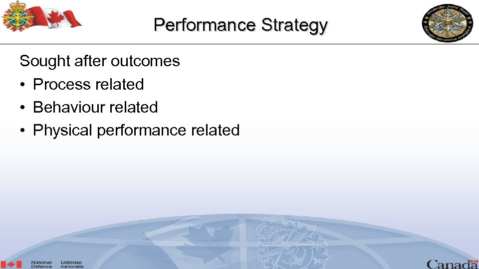 Performance Strategy Sought after outcomes • Process related • Behaviour related • Physical performance