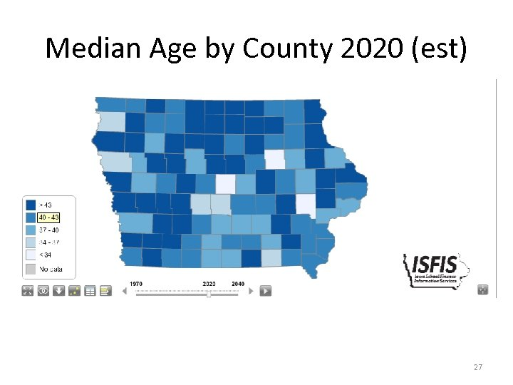 Median Age by County 2020 (est) 27