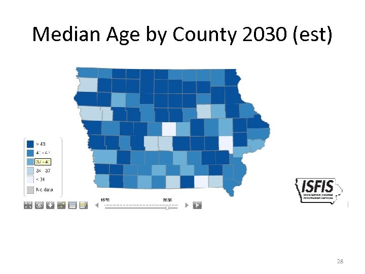 Median Age by County 2030 (est) 28