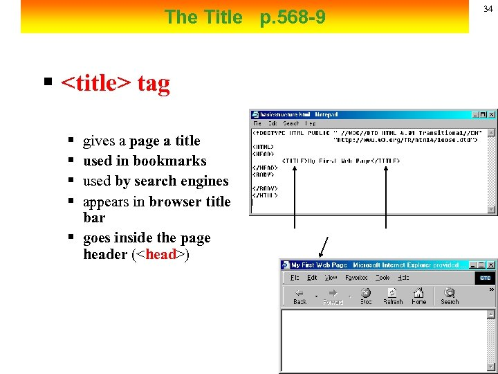 34 The Title p. 568 -9 § <title> tag § § gives a page