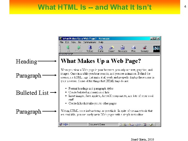 What HTML Is -- and What It Isn't Heading Paragraph Bulleted List Paragraph Jozef