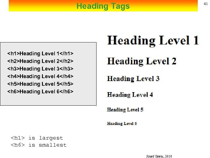 Heading Tags 41 <h 1>Heading Level 1</h 1> <h 2>Heading Level 2</h 2> <h