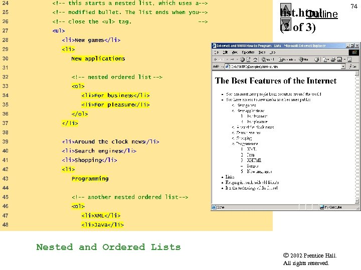 list. html Outline (2 of 3) Nested and Ordered Lists 2002 Prentice Hall. All