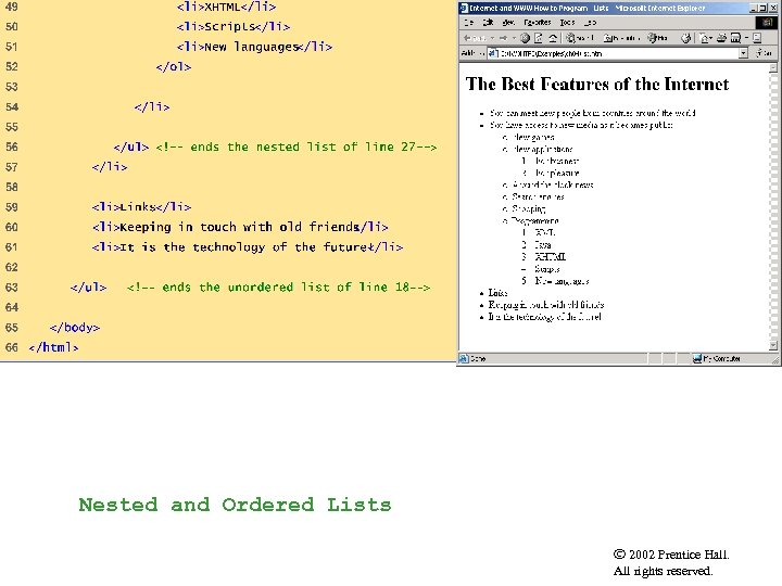 list. html Outline (3 of 3) Nested and Ordered Lists 2002 Prentice Hall. All