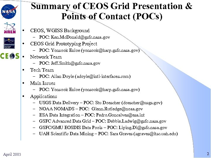 Summary of CEOS Grid Presentation & Points of Contact (POCs) • CEOS, WGISS Background