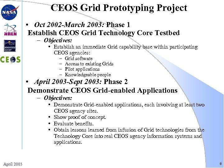 CEOS Grid Prototyping Project • Oct 2002 -March 2003: Phase 1 Establish CEOS Grid