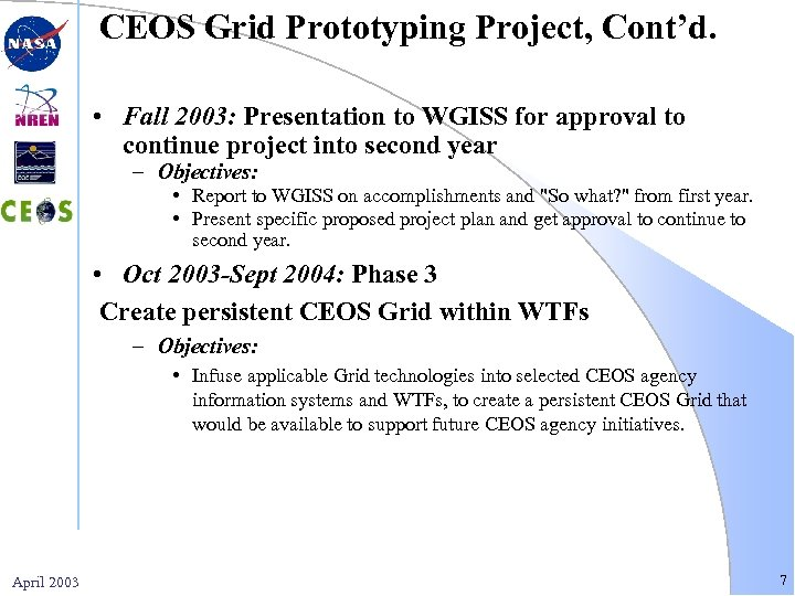 CEOS Grid Prototyping Project, Cont'd. • Fall 2003: Presentation to WGISS for approval to