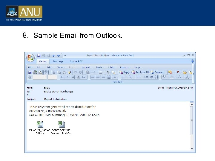 8. Sample Email from Outlook.