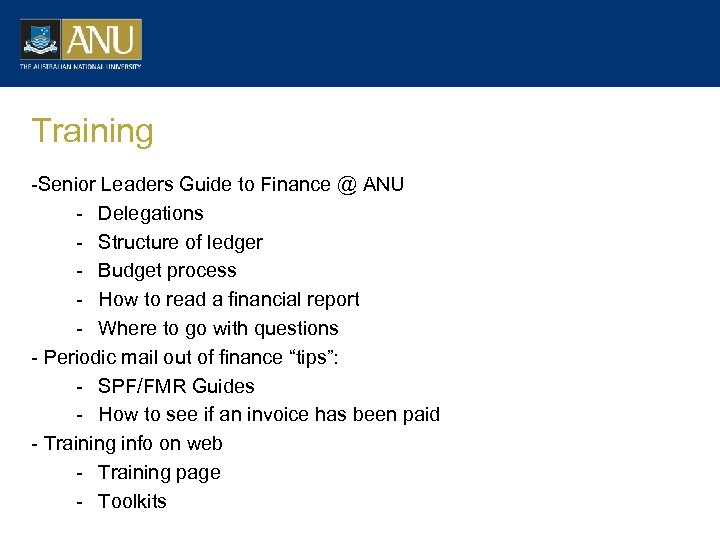 Training -Senior Leaders Guide to Finance @ ANU - Delegations - Structure of ledger
