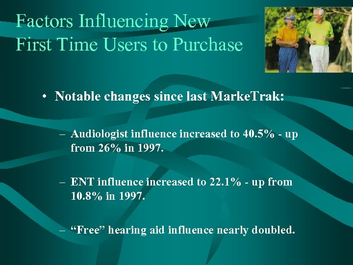 Factors Influencing New First Time Users to Purchase • Notable changes since last Marke.