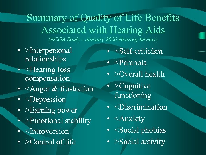 Summary of Quality of Life Benefits Associated with Hearing Aids (NCOA Study – January