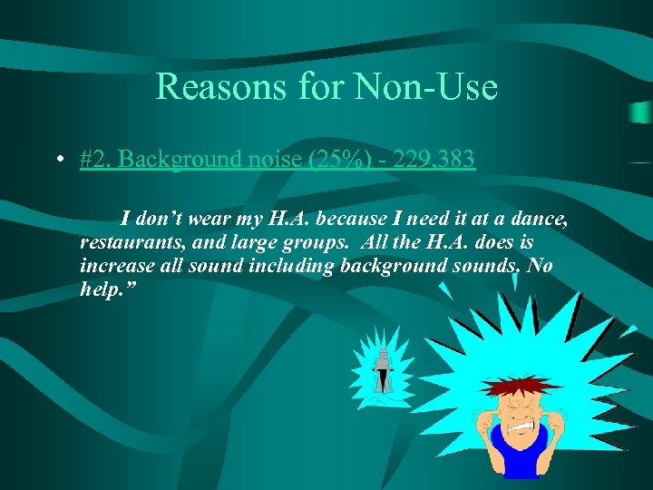 Reasons for Non-Use • #2. Background noise (25%) - 229, 383 I don't wear