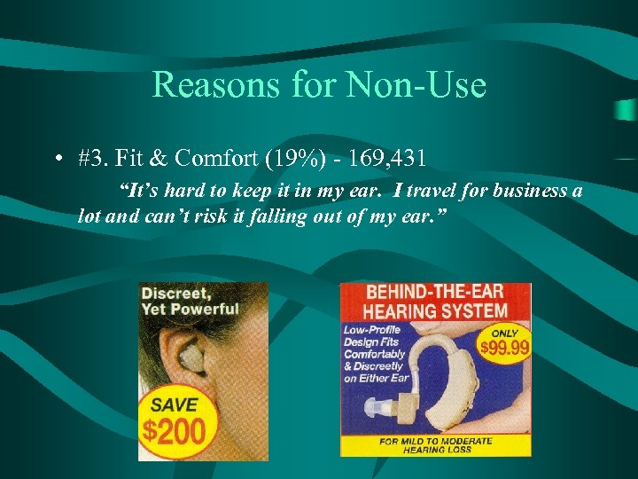 "Reasons for Non-Use • #3. Fit & Comfort (19%) - 169, 431 ""It's hard"