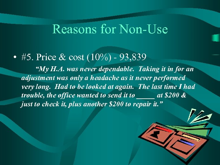 "Reasons for Non-Use • #5. Price & cost (10%) - 93, 839 ""My H."