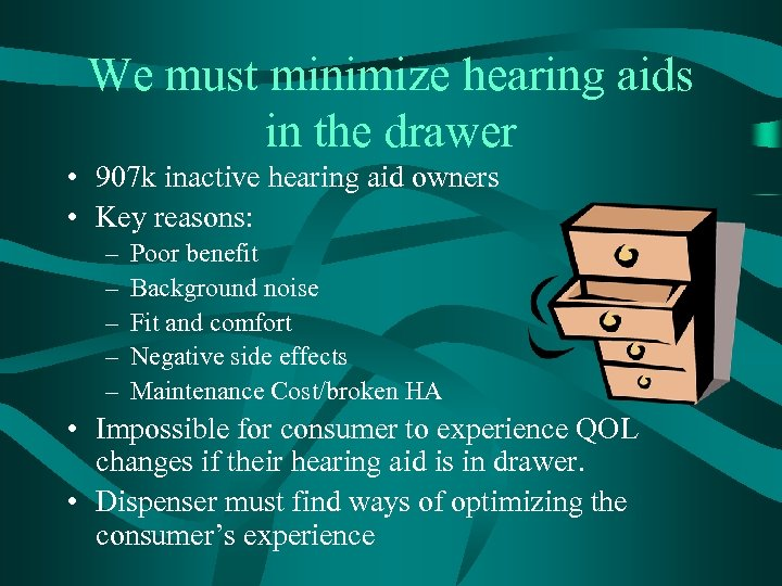 We must minimize hearing aids in the drawer • 907 k inactive hearing aid