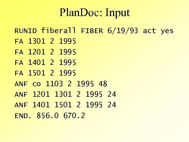 Plan. Doc: Input RUNID fiberall FIBER 6/19/93 act yes FA 1301 2 1995 FA