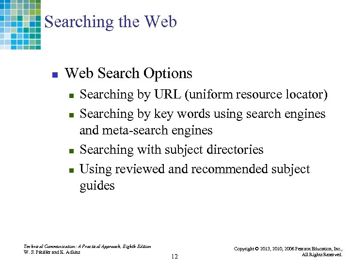 Searching the Web n Web Search Options n n Searching by URL (uniform resource