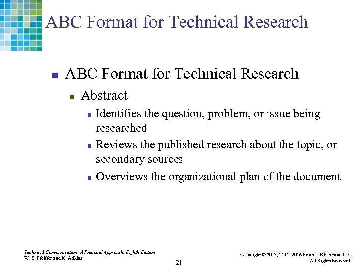 ABC Format for Technical Research n Abstract n n n Identifies the question, problem,