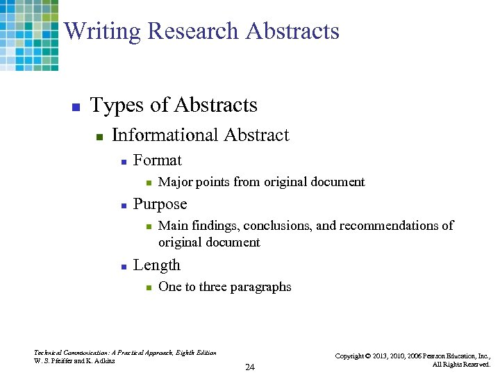 Writing Research Abstracts n Types of Abstracts n Informational Abstract n Format n n