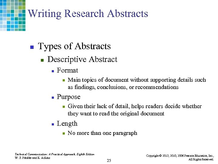 Writing Research Abstracts n Types of Abstracts n Descriptive Abstract n Format n n