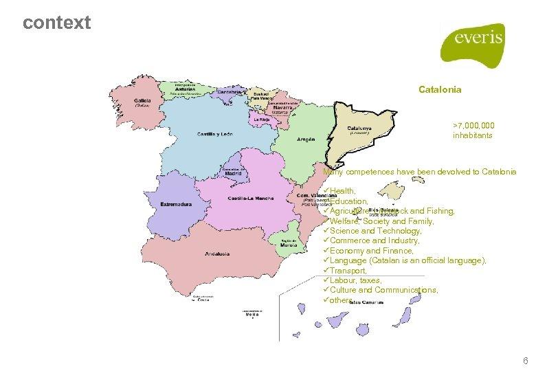 context Catalonia >7, 000 inhabitants Many competences have been devolved to Catalonia üHealth, üEducation,