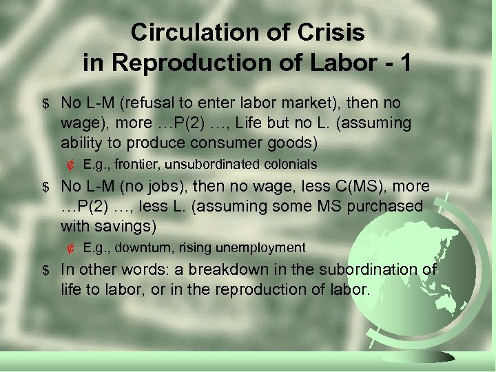 Circulation of Crisis in Reproduction of Labor - 1 $ No L-M (refusal to