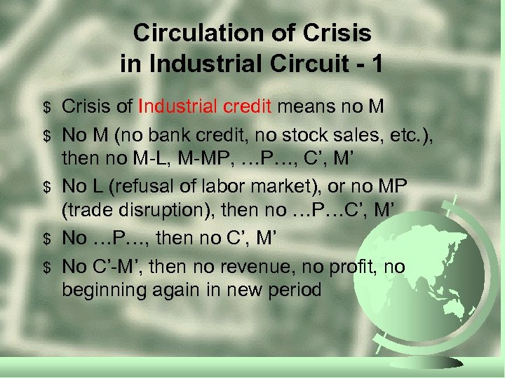 Circulation of Crisis in Industrial Circuit - 1 $ $ $ Crisis of Industrial